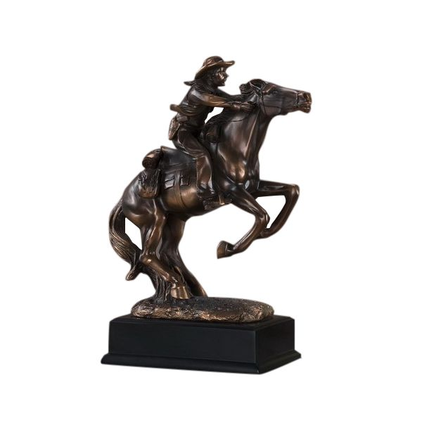 Going For It Cowboy On Horse Statue
